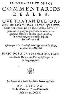 Comentarios Reales de los Incas — Wikipédia