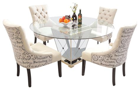 Furniture Import & Export Inc. 5 Piece Round Glass Dinette