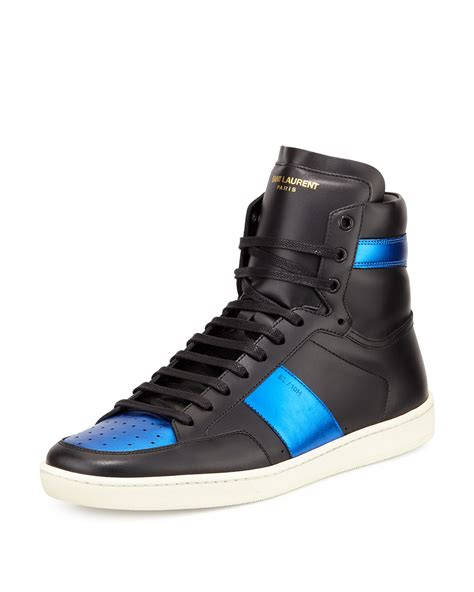 s laurent sneakers lyst laurent leather high top sneakers in blue for