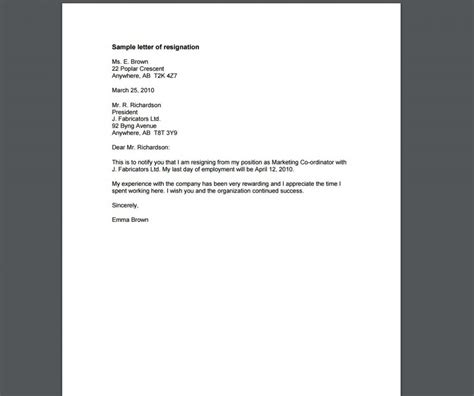 templates for letters of resignation 10 resignation letter template exles templates assistant
