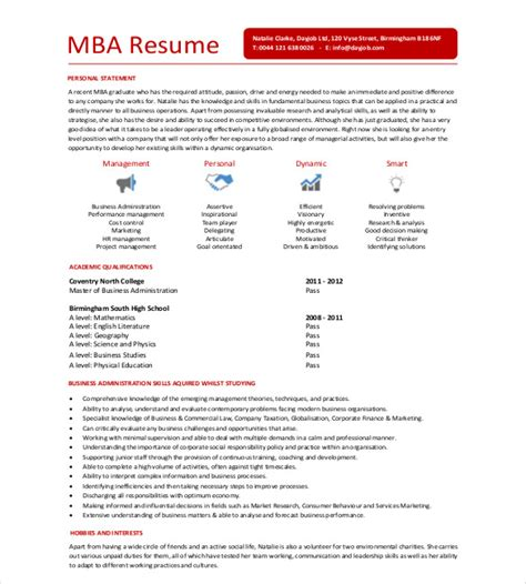 professional resume for mba admission