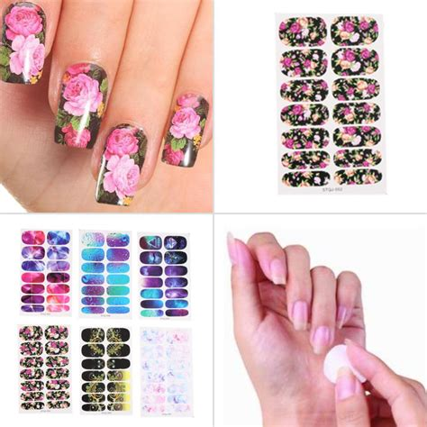 Nail Sticker Water Decal For Nail Stiker Kuku 24 6 styles water transfer nails sticker pink flowers design nail sticker manicure