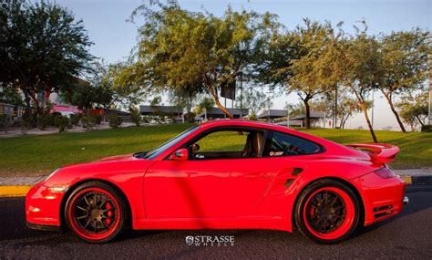 red porsche black wheels red porsche 911 looks dressy with matte black strasse