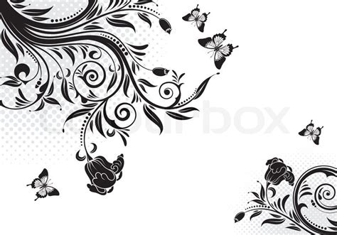 Design Vorlagen F R Illustrator Floral Ornament With Butterfly Element For Design Vector Illustration Stock Vector Colourbox