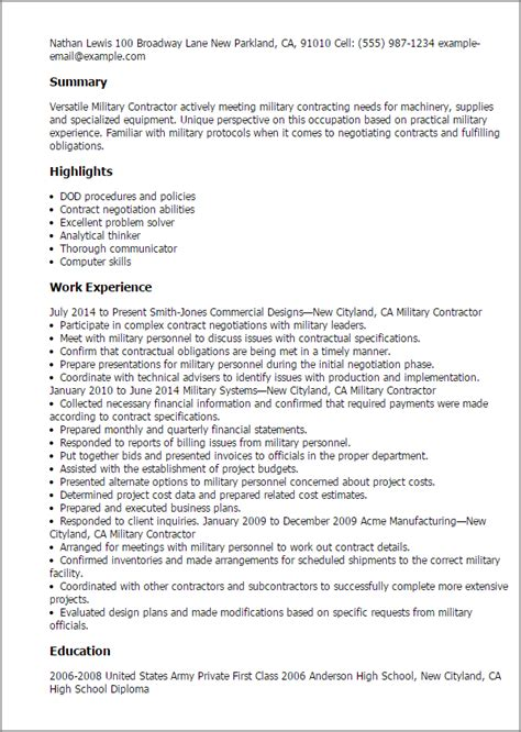 Resume Exles Defense Contractor Professional Contractor Templates To Showcase Your Talent Myperfectresume