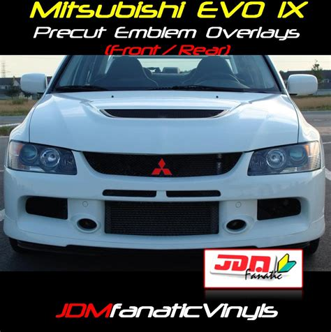 mitsubishi evo emblem 03 06 mitsubishi lancer evo ix precut emblem front rear