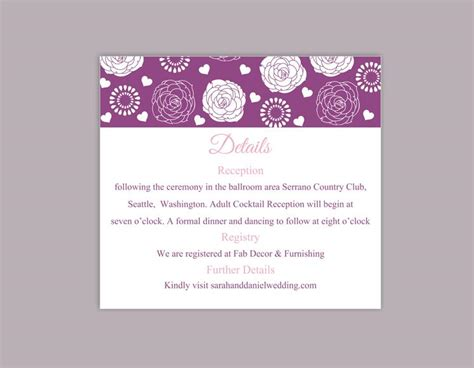 Information Card Word Template by Diy Wedding Details Card Template Editable Word File