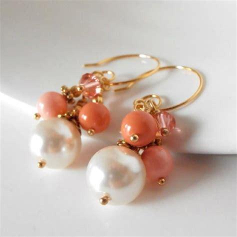 Handmade Pearl Earrings - coral bead cluster earrings coral bridesmaid jewelry sets