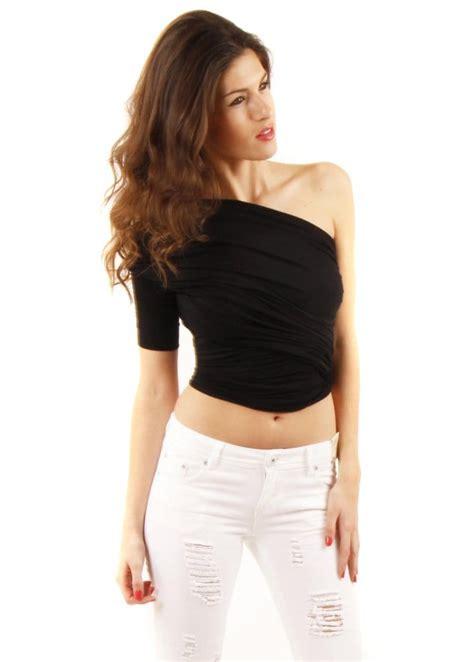 one shoulder drape top join join black one shoulder top draped black top