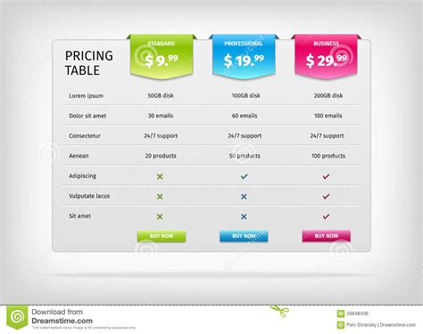 pricing table template pricing comparison table for plans or products royalty