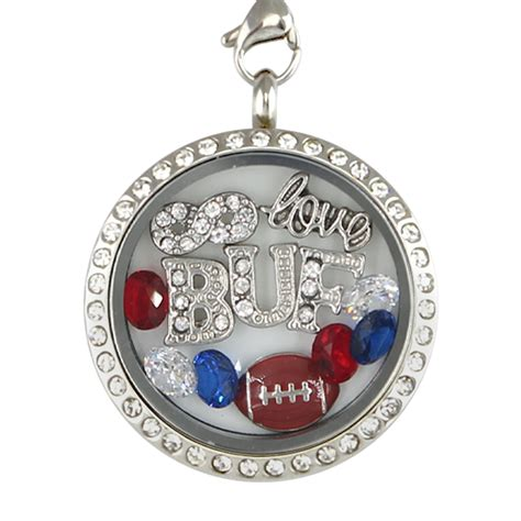 locket photo template buffalo football charm necklace