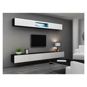 meuble tv design suspendu bini noir et blanc achat vente