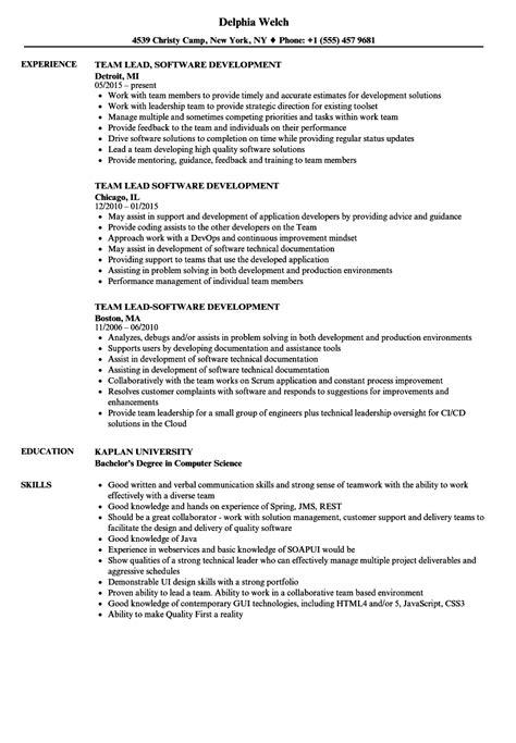 Sle Resume Of Team Leader In Software Development team lead software development resume sles velvet