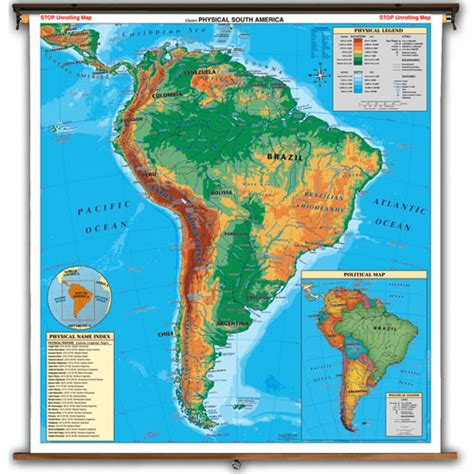 political and physical map of south america south america physical political map