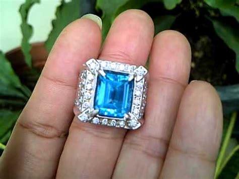 Cincin Perak Lapis Emas Batu Blue Topaz Cincin Cowok Batu Blue Topaz 3 cincin batu blue topaz code 2560