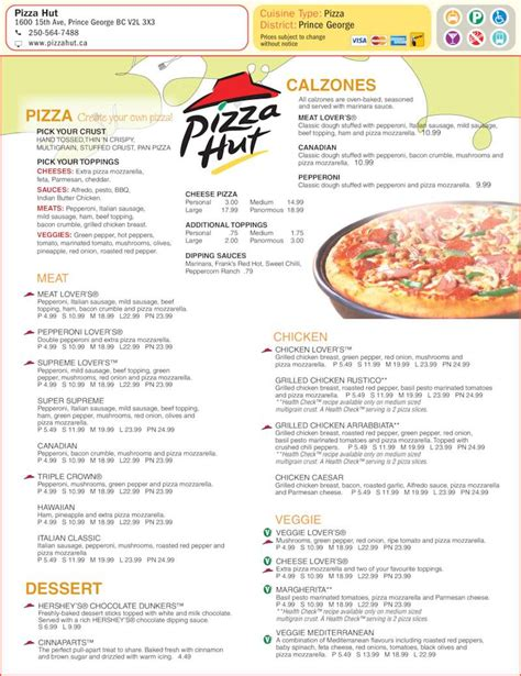 Hut Prices Pizza Hut Menu Hours Prices 105 1600 15th Avenue