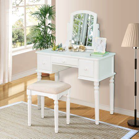 Wood Vanity Table And Stool by Bright Designs Wood Vanity Table Set With Mirror