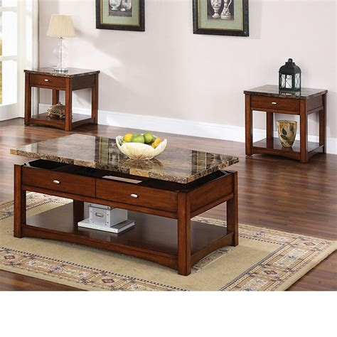faux marble lift top coffee table dreamfurniture jas cherry finish coffee end table w