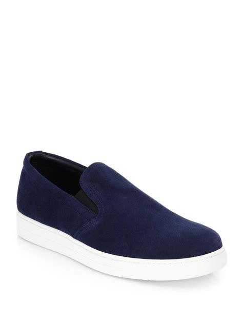 womens prada sneakers on sale prada suede slip on sneakers in blue for lyst