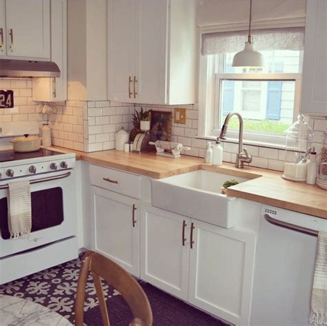 countertop kitchen appliances kitchen white appliances subway tile farmhouse sink wood