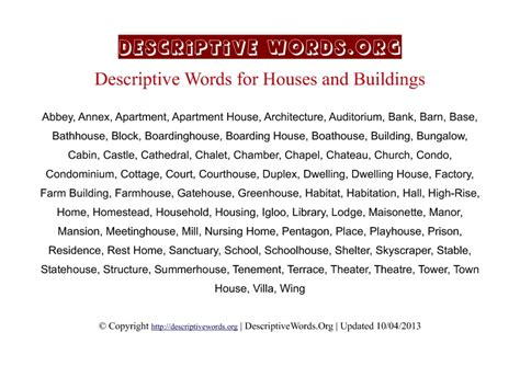 Describe Apartment In Descriptive Words For Houses And Dwellings Descriptive