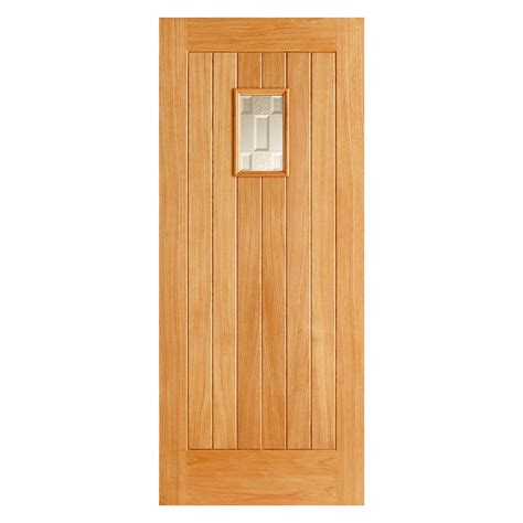 Small Outside Doors Exterior Oak Door Vertical Panels Small Glazed