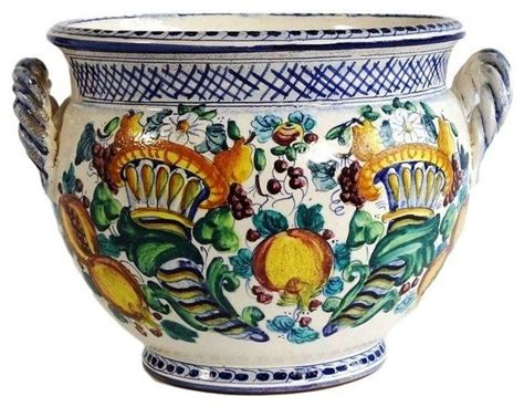 Painted Planter Pots by Pre Owned Italian Painted Ceramic Pot Mediterranean