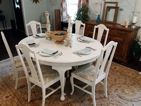 white distressed dining table with 6 chairs