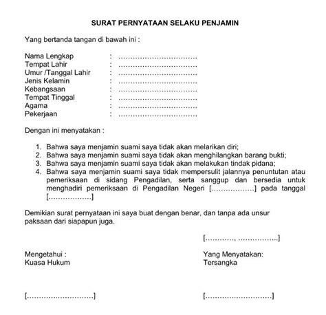 Contoh Surat Permintaan Yang Benar Dan Baik by Contoh Surat Pernyataan Jaminan Yang Baik Resmi Dan Benar