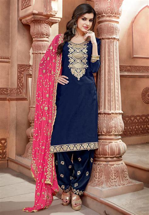 embroidered chanderi silk punjabi suit  navy blue kch