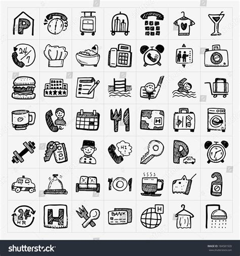 how to do hotel on doodle fit doodle hotel icons set stock vector illustration 184581920