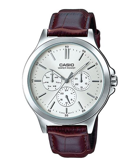 Jam Tangan Pria Cowok Catapillar Daydate Leather Brow Murah mtp v300l 7a multi gent s dress timepieces casio