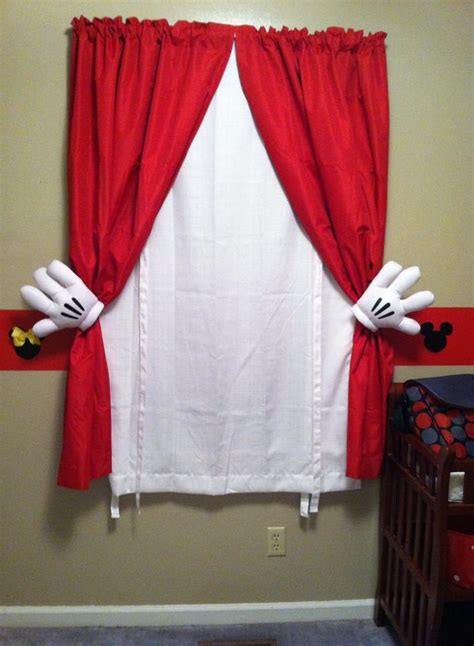 mickey mouse curtains simply  plain red  white curtains  metal curtain pull backs