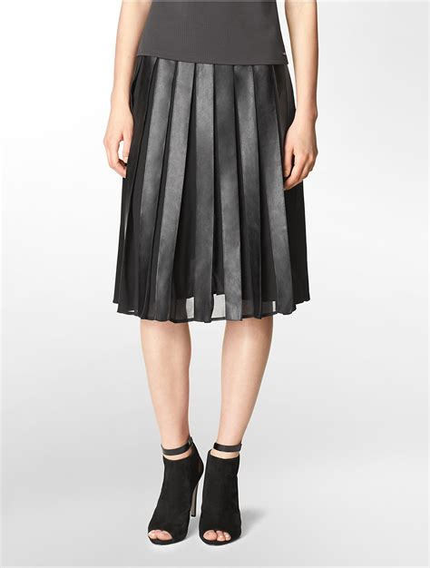 calvin klein white label faux leather chiffon pleated
