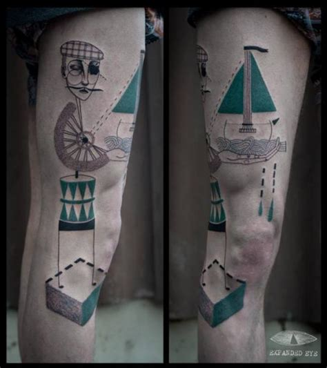 fantasie bein geometrisch m 228 nner tattoo von expanded eye