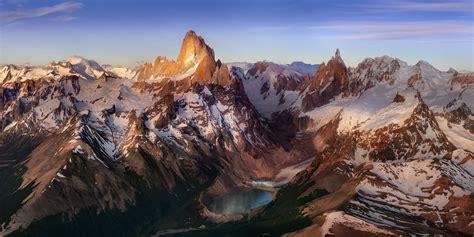 mountain lake sunrise snowy peak andes patagonia