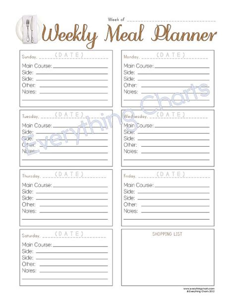 printable meal plan pdf weekly meal planner pdf file printable by everythingcharts