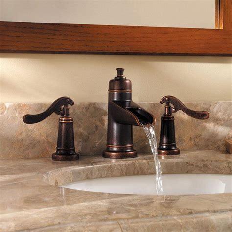 widespread bathroom faucet waterfall bronze pfister gt49