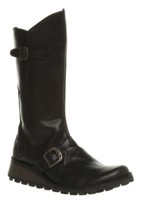 womens fly mes wedge calf boot black rugged boots