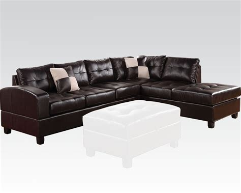 acme sectional sofa sectional sofa kiva espresso by acme furniture ac51195