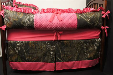 Camo Crib Bumper by Custom Made Mossy Oak Pink Baby Bedding Crib Set By Babylooms