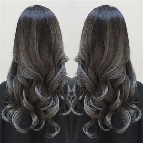 charcoal hair color smoky silver highlights charcoal black hair color