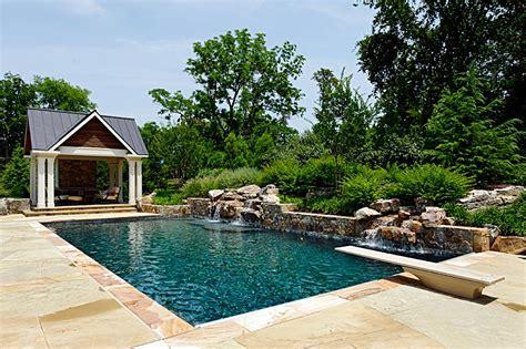 Modern Farmhouse Porch stone work swimming pool waterfalls cabana amp fire pit