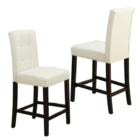 pc dining high counter height side chair bar stool  faux leather  cream ebay