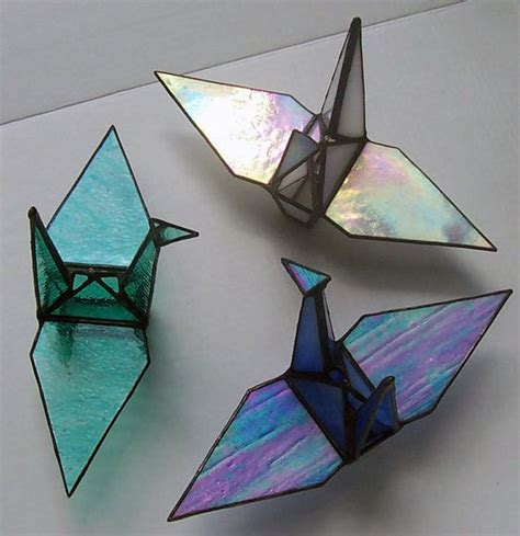Glass Origami - stained glass origami sadakos peace crane tsuru symbol