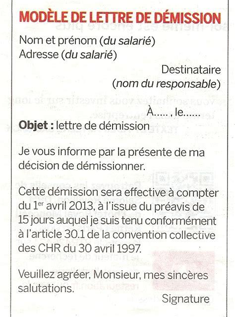 Modèle De Lettre De Démission En Cdd Sans Préavis Liens D Informations