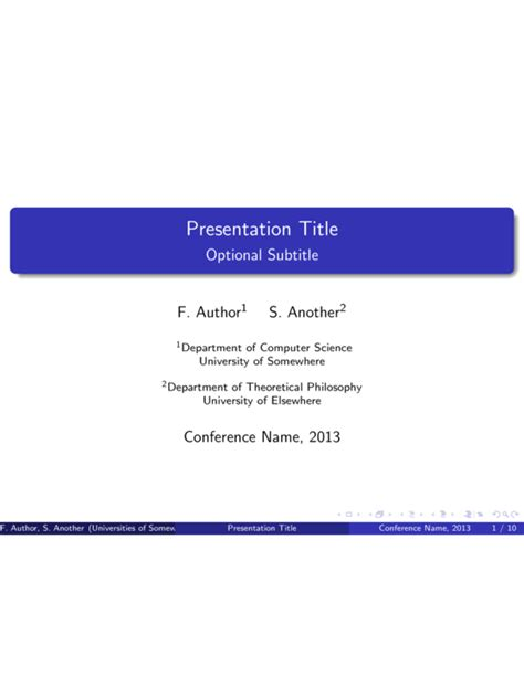 conference presentation latex template sharelatex