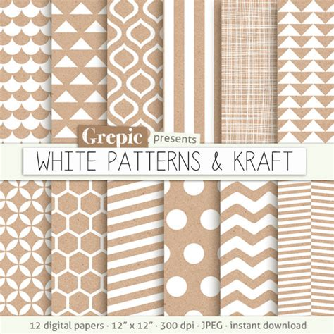Patterned Craft Paper - kraft digital paper white patterns kraft with