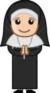 Cartoon vector character nun praying stock image