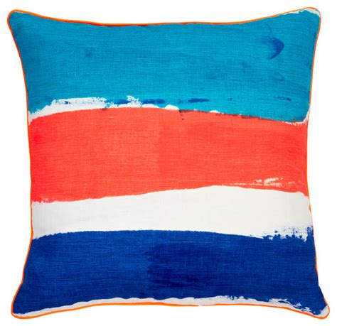 Orange And Blue Pillows by Orange Blue And Navy Stripe Nautical Pillow